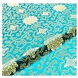 Satín Imitar La Seda Tela De Brocado Damasco Flores Vintage Jacquard para Manualidades De Bricolaje De Coser Paño para Envolver Manteles Tapicería Traje De Kimono(Size:4m,Color:6 Sky Blue)