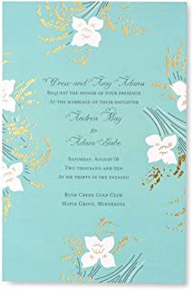 George Stanley Lily Floral Luxe Mayfair Imprintable Invitation, 10-Count (46088)