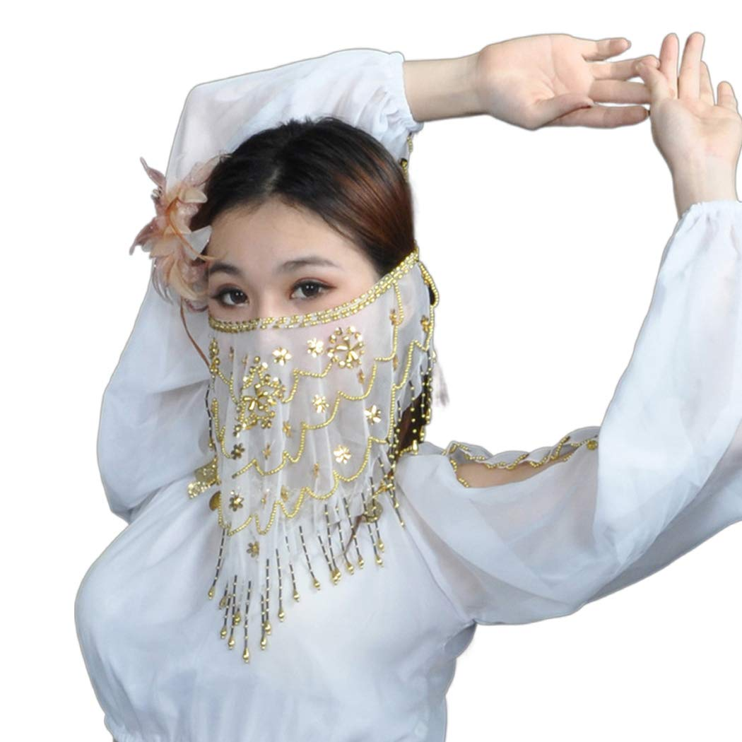 Gold Gortin Belly Dance Face Veil Beads Genie Sequin Tassel Belly Veil for Women and Girls