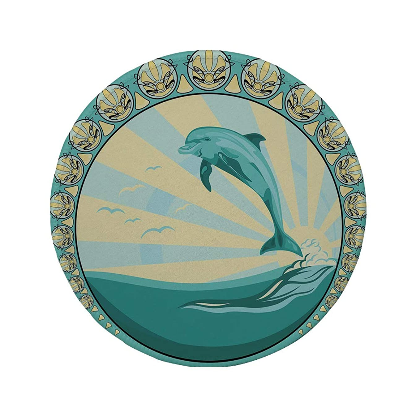 Non-Slip Rubber Round Mouse Pad,Dolphin,Aquatic Mammal Jumping Out of The Sea The Sun Behind Its Back Ethnic Frame Decorative,Teal Yellow Black,11.8