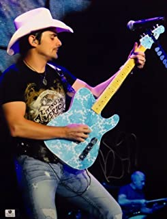 Brad Paisley Signed Autographed 11X14 Photo Playing Blue Guitar on Stage 842153