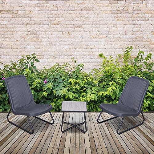 Outsunny Conjunto de Muebles de Jardín 3 Piezas Juego de 2 Sillas y Mesa con Encimera de Cristal Templado Efecto Mármol Terraza Piscina 53,5x80,5x76 cm Gris
