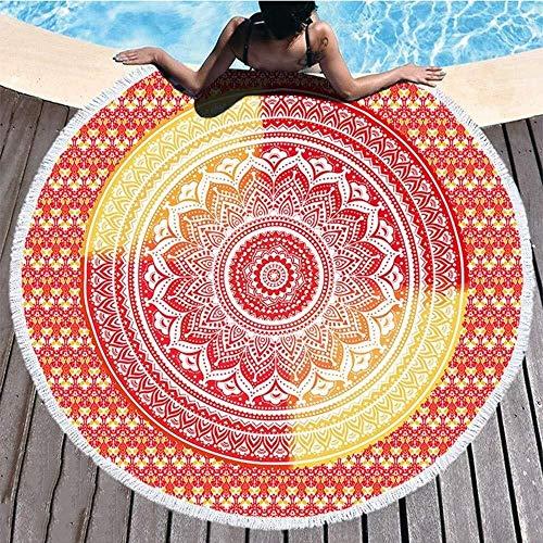 VSander Manta De Toalla De Playa Redonda Mandala Tirar Hippie Tapiz Tela De Mesa Meditación Yoga Estera De Picnic Baño De Viaje Microfibra Chal Roundie Protector Solar Camping 2 Clips