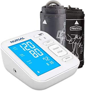 NURSAL Updated Upper Arm Digital Blood Pressure Monitor with USB Power Cable Large Backlit Digital Screen for 2 Users(240 Set Memory)