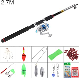 Small Lake Glass Fiber 2.7m Fishing Rod Reel Line Combo Full Kits 3000 Series Spinning Reel Pole Set