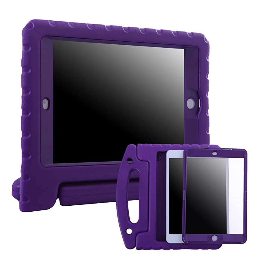 HDE Case for iPad Mini 1 2 3 Kids Shockproof Bumper Hard Cover Handle Stand with Built in Screen Protector for Apple iPad Mini 1st 2nd 3rd Generation (Purple) bjpemgtvtbwxa428