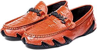 2018 New Men's Casual Loafers is A New Style of Crocodile Brock Business British Fashion A Bad Leg is A Lazy Foot Boat Moccasins (Color : Orange, Size : 5.5 UK)