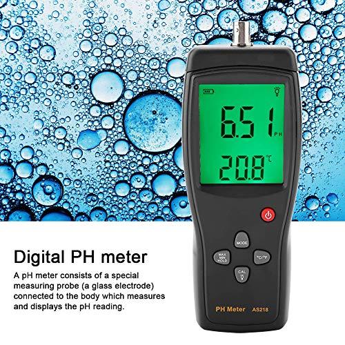 Boquite PH-Teststift, SMART Sensor AS218 LCD-Digital-Säuremesser-Werkzeug Schutz für Aquarium-Poolwasser Weinmessung mit automatischer Kalibrierung (Messbereich: 0,00-14,00)