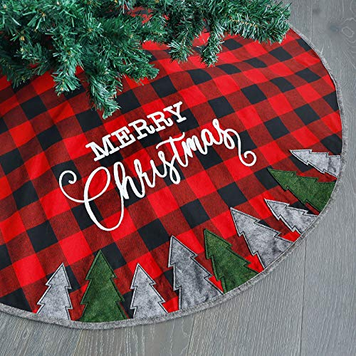 Juegoal 48 Inch Christmas Tree Skirt, Soft Red and Black Plaid Christmas Tree Mat for Xmas Party Decoration, Christmas Tree Holiday Decor