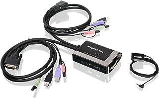 IOGEAR 2-Port USB DVI-D Cable KVM Switch with Audio and Mic, GCS932UB