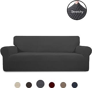 PureFit Stretch Sofa Slipcover – Spandex Jacquard Non Slip Soft Couch Sofa Cover, Washable Furniture Protector with Non Skid Foam and Elastic Bottom for Kids (Sofa, Dark Gray)