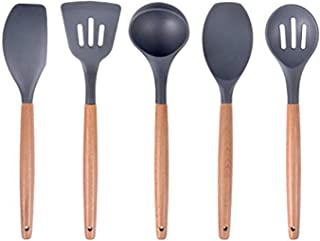 SAVORLIVING Silicone Cooking Utensil 5 Pieces with Wooden Handle, Kitchen Utensils including Spatula,Turner, Soup Ladle, S...