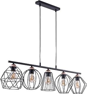 Lámpara de techo de diseño, color negro, cobre, metal, 5 focos, alargada, elegante Galaxy mesa de comedor o salón