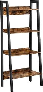 VASAGLE Ladder Shelf, 4-Tier Home Office Bookshelf, Freestanding Storage Shelves, for Living Room Bedroom Kitchen, Metal Frame, Simple Assembly, Industrial, Rustic Brown and Black ULLS054X01