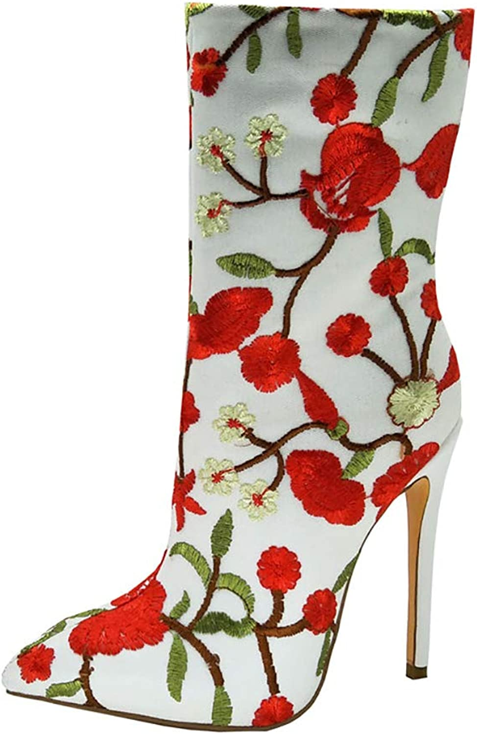 Original Intention Women's Ankle Boots Floral Embroidered Heels Boots White shoes Women Big Size