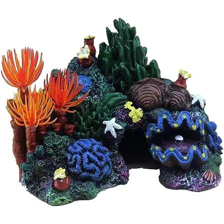 Aquarium Decor Air Bubble Stone Blue Coral Starfish Oxygen Pump Resin Crafts for Aquarium Fish Tank Ornament Decoration