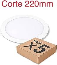 (LA) 5x Panel LED redondo 20w, corte 220mm, blanco frío (6500K) tamaño exterior 240mm color blanco, driver incluido.