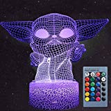 3D Illusion Star Wars Night Light for Kids/Adults, 3 Patterns: Baby Yoda/Darth Vader/Stormtrooper, 16 Colors Available, Decoration Night Lamp, Star Wars Toys and Gifts