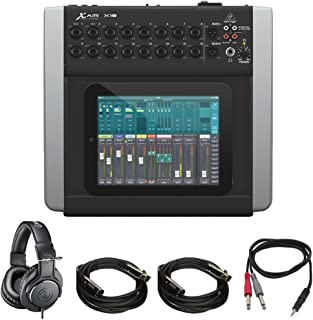 Behringer X AIR (X18) Compact 18ch 12-Bus Digital Mixer for Tablets + Pro DJ Bundle Includes, Professional Monitor Headphones, 1/8
