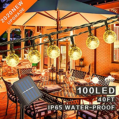 Mega-Loopolis 40Ft 100 LED Solar String Lights Outdoor, Waterproof Globe String Lights 8 Modes Indoor/Outdoor Fairy Crystal Ball Lights for Patio Yard Trees Christmas Wedding Party, Warm White