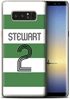 Personalized Custom Euro Soccer Club Jersey Kit Gel/TPU Case for Samsung Galaxy Note 8/N950 / Green White Hoops Design/Initial/Name/Text DIY Cover