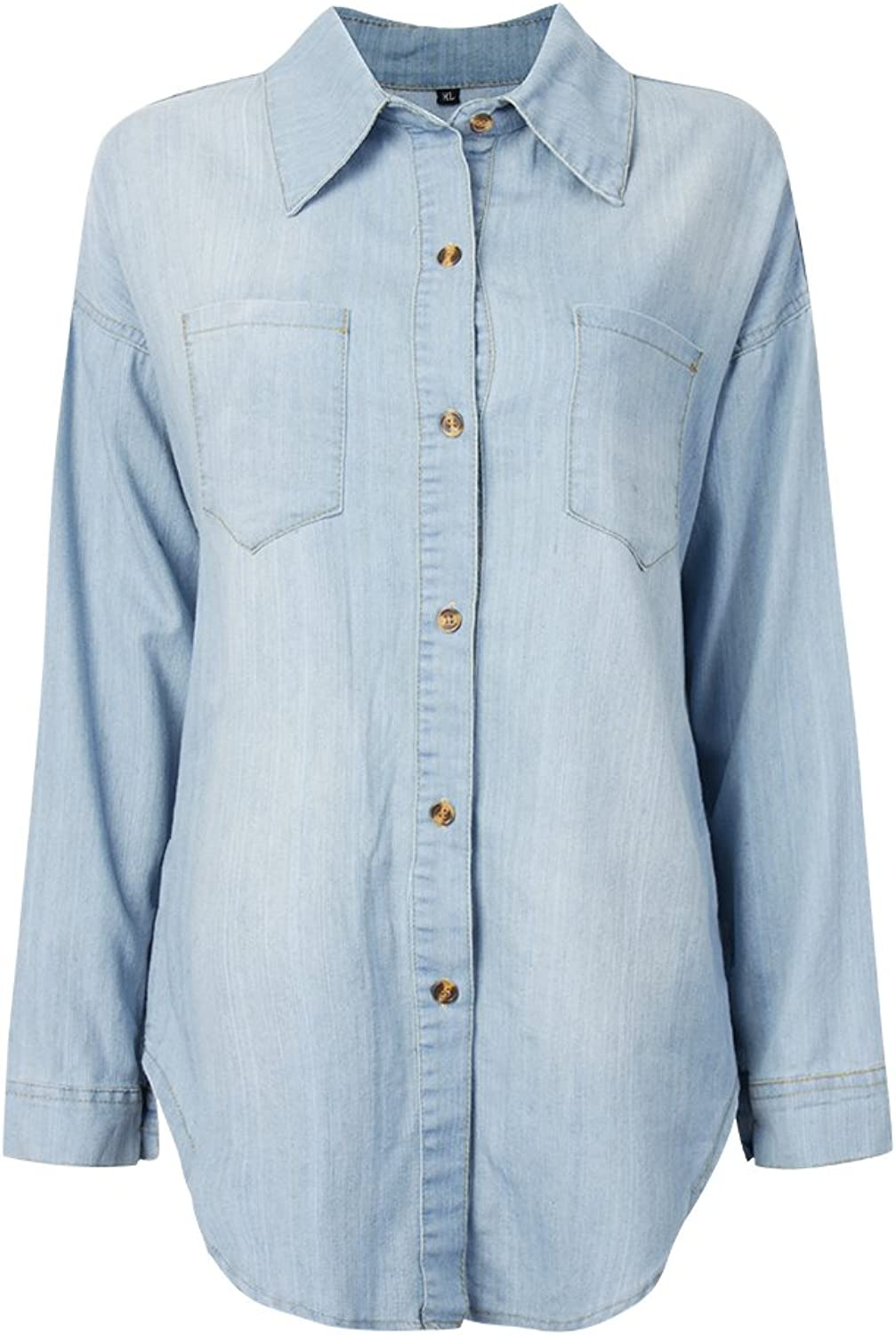 Casual Loose Back Zipper Button Denim Blouse For Women