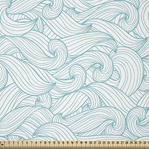 ABAKUHAUS Turquesa Tela por Metro, Las olas del océano verano, Tela Elastizada Estampada para Costura Arte y Bricolaje, 2 Metros, Azul pálido Blanca