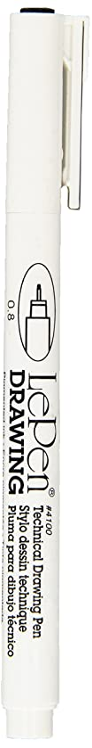 Uchida of America 4100-C-.8 Carded Le Pen Technical Drawing Pen, 0.8 Point,  Black