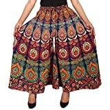 G Looks Cotton Women's Regular Fit Jaipuri Printed Divider Palazzo Pant (Free Size)