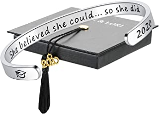 SAM & LORI Graduation Gift Cuff Bracelet Bangle Necklace Keychain Inspirational Graduate Jewelry with 2020 Grad Cap Charm Mantra Quote Engraved Friendship Present Gift for College High School Student
