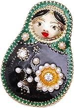 Red Cube Goldtone Russian Matroschka Brooch Blue Green Crystal Enamel Rhinestone Matruschka Pin Jewelry (Matreshka)