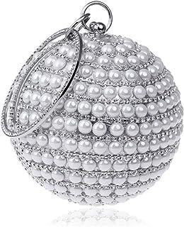 Women's Clutch Bag, Ladies Fashion Creativity Round Ball Evening Bag Bridal Wedding Handbag Prom Bag Purse,White,12.5 * 26 * 12.5cm