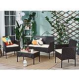 Salon de jardin 4 pièces aspect rotin avec table en verre Cube - Noir marron