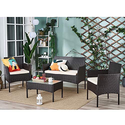Lounge Set 4tlg in Rattanoptik mit Glastisch Cube Sofa Garnitur Sitzgruppe Gartenmöbel für Garten 3 Farbwahl - Braun