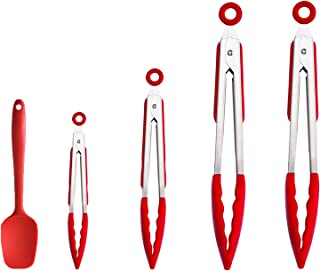 Set of 5 Silicone Tongs Stainless Steel Kitchen Tongs with Silicone Tips - 7, 9, and 12Inch2 Non Stick Silicone Tongs With...