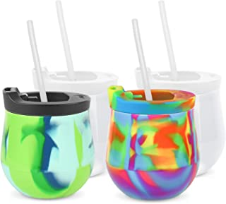 Silipint Original Patented Silicone Wine Glasses - Set of 4, BPA-Free - Spill Resistant When Using the Lids (Hippy Hop, Sea Swirl, 2 Frosted cups - 2 Frosted Lids, 1 Black Lid, 1 Hippy Lid, 4 Straws)