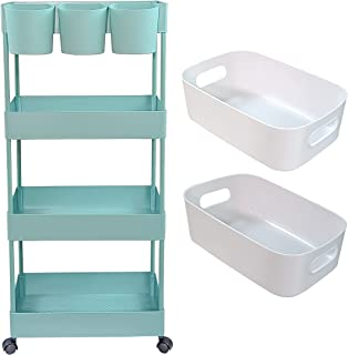 Aewio 4 Tier Utility Rolling Cart Storage Organizer Shelf Cart with 3PCS Hanging Cups and 2PCS Storage Box for Home Office...