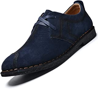 QinMei Zhou Casual Business Oxford for Men Fashion British Style Lace up Suede Leather Antislip Outsole Round Toe Shoes (Color : Blue, Size : 7.5 UK)