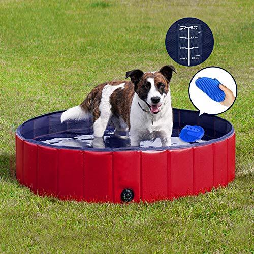Forever Speed Hundepool,Doggy Pool,Katzenpool,Faltbares Pool,Kinderbadewann,Umweltfreundliche PVC,rutschfest,Gut Abgedichtet-Haustiere,Geschenke der Kinder (3Größe) (160x30cm, Rot)