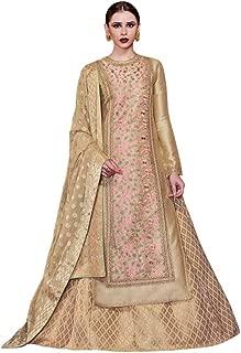 INMONARCH Womens Beige and Pink Handloom Silk Anarkali Suit SLRD11058