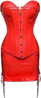 Grebrafan Gothic Corsage mit Rock Kunstleder Korsagen Damen Clubwear