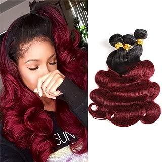 Baiermei Hair Ombre Wine Red Brazilian Virgin Hair Extensions Body Wave 3 Bundles Two Tone Color 1b/99j Human Hair Weave Bundles (20