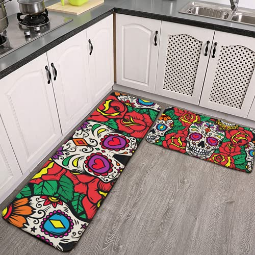 Kitchen Rugs Set of 2 Mexican Sugar Skulls and Roses Flowers Decoration Anti Fatigue Kitchen Floor Mats Non Skid Washable Carpet Cushioned Standing Desk Mat Sink Pad Long Entryway Hallway Runner