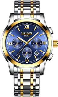 HAIQIN Men's Analog Quartz Watches Waterproof Sports Wristwatch Chronograph Stainless Steel Dress Business Watch for Men, Luminous, Gift