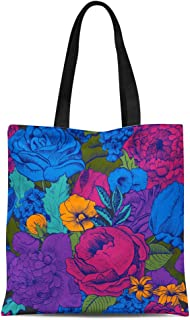 Semtomn Canvas Tote Bag Blue Floral Vintage Pattern Lush Colorful Flowers Purple Bright Durable Reusable Shopping Shoulder Grocery Bag