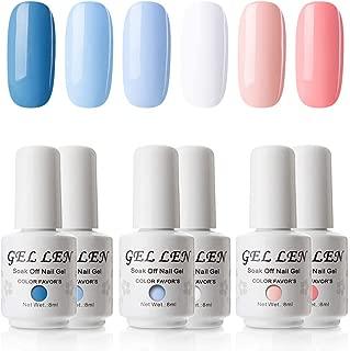 Gellen Gel Nail Polish Set - Blue Peach 6 Colors Series - Popular Nail Art Colors UV LED Soak Off Nail Gel Kit