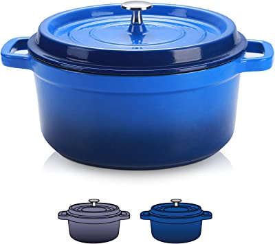 Sulives Non-Stick Enamel Cast Iron Dutch Oven Pot with Lid Suitable for bread baking use on gas electric oven 5 Quart for 4-6 people(Dark Blue)