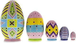 Set of 5 Ukrainian Easter Eggs Pysanky Wooden Nesting Dolls 5 Inches