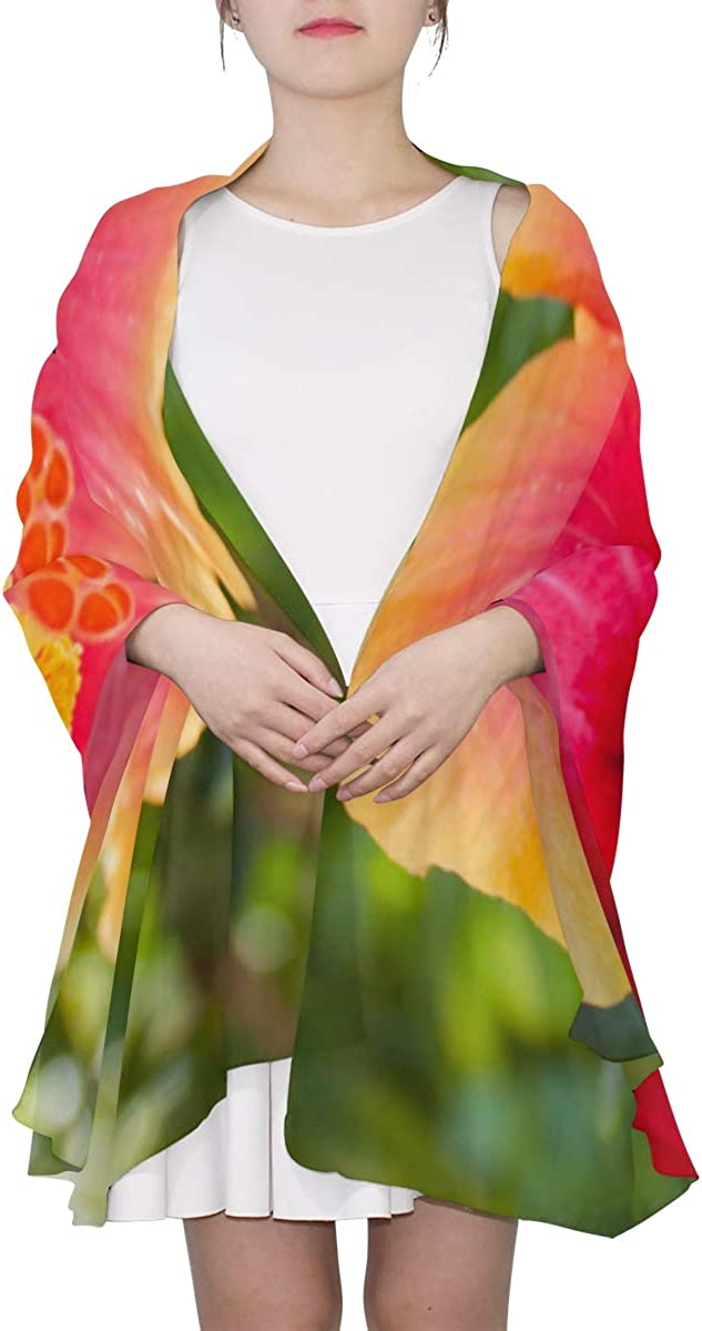 Beautiful Hibiscus Flower Unique Fashion Scarf For Women Lightweight Fashion Fall Winter Print Scarves Shawl Wraps Gifts For Early Spring