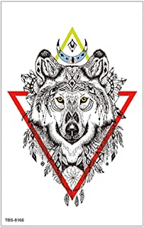 3 stks waterdichte tattoo stickers set optionele wolf hoofd schedel bloem draak tattoo stickers-TBS-8166_120 * 190mm
